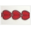 Glass Cutbead Flat Heart 16x15mm Strung- Siam Ruby